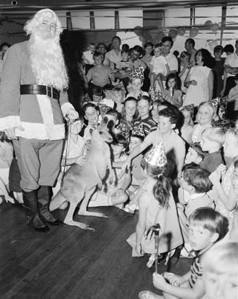Santa Claus and Skippy in Sydney store (11752107, National Archives of Australia)